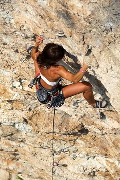 Check out her perfectly toned arms and shoulders!  Wish I was that good at rock climbing