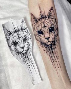 Dope Tattoos, Spooky Tattoos, Forearm Tattoos, Body Art Tattoos, Sleeve Tattoos, Dark Art Tattoo, Black Cat Tattoos, Witch Tattoo, Creative Tattoos