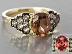 2.58ctw Oval And Round Masasi Bordeaux Garnet™ 10k Yellow Gold Ring