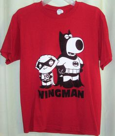 """FREE U.S. Shipping!Family Guy Stewie/Brian """"Wingman"""" T Shirt Red Size: Medium. #unknown #GraphicTee"""