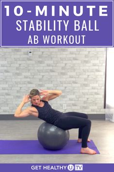 10 Minute Stability Ball Abs with Intervals Target your core muscles, strengthen your midsection and banish belly fat with this stability ball ab workout with intervals! 10 Minute Ab Workout, 10 Minute Abs, Six Pack Abs Workout, Best Ab Workout, Tummy Workout, Ab Workout At Home, Belly Fat Workout, Workout Videos, At Home Workouts