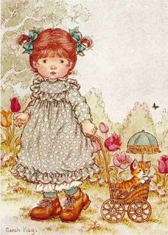 a postcard by Sarah Kay, published by Paperitaide, Sarah Key, Holly Hobbie, Cute Images, Cute Pictures, Vintage Drawing, Cute Illustration, Vintage Pictures, Vintage Cards, Vintage Children