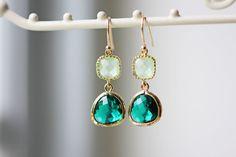 Green Emerald Glass Wedding Earrings Gold Light Mint by KaoriKaori, $30.00