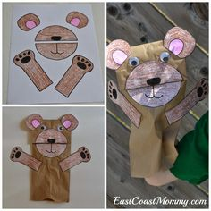 Paper bag teddy bear... with free templates for this craft, bear ears, a bear treat, and more!
