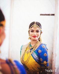 South Indian bride. Gold Indian bridal jewelry.Temple jewelry. Jhumkis. Blue silk kanchipuram sari. Braid with fresh jasmine flowers. Tamil bride. Telugu bride. Kannada bride. Hindu bride. Malayalee bride.Kerala bride.South Indian wedding. Pinterest: @deepa8