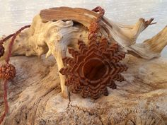 Thousand petaled lotus. Olive wood necklace by ValleyWWKing on Etsy