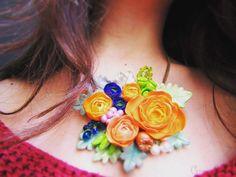 Polymer clay statement necklace Handmade Accessories, Handmade Jewelry, Polymer Clay, Crochet Necklace, Swarovski, Model, Fimo, Bead, Handmade Jewellery