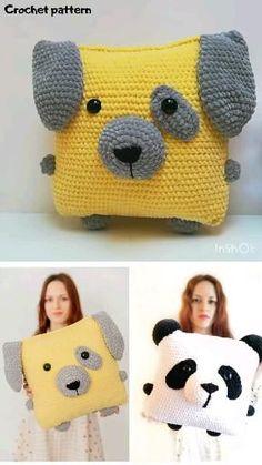 Crochet Pillow Pattern, Crochet Cushions, Crochet Motif, Crochet Panda, Cute Crochet, Crochet Baby, Crochet Home, Crochet Gifts, Crochet Dolls