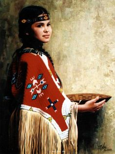 """☆ """"Daughter Of The Sioux"""" Oil on Linen 12"""" x 9""""  -Western and Native American Fine Art by Karen Noles"""
