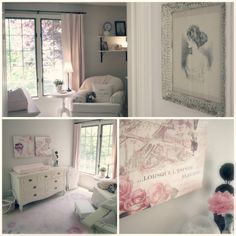 Soft, vintage, pink & gray nursery... Love the vintage nursery styles.