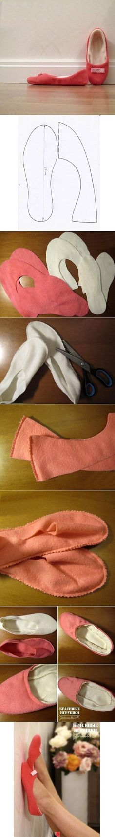 Sewing slippers, easy period-esque shoes More