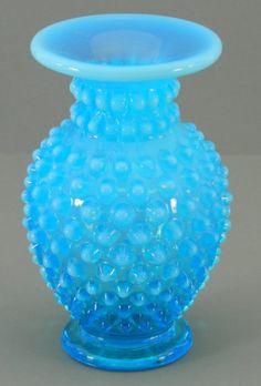 Fenton Blue Glass Opalescent Hobnail Vase Small  Bud. $21.99, via Etsy.