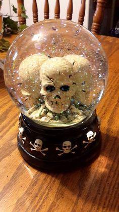 skull black bats halloween glass snow water globe on wood pedestal musical