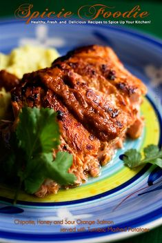 Chipotle, Honey and Sour Orange Salmon Served with Turmeric Mashed Potaties Orange Recipes, Salmon Recipes, Fish Recipes, Seafood Recipes, Mexican Food Recipes, New Recipes, Healthy Recipes, Recipies, Salmon Dishes
