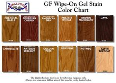 General Finishes Wipe-On Gel Stain Color Chart by jenna