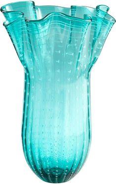 "Cyan Design Large Linear Vase. Large Linear Vase: *Glass vase *Features a ruffled rim *Measurements:* 18"" DIA x 29"" H. Sponsored"