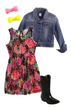 Little Pretties Dress, Tucker + Tate Jacket & Cara Accessories Hair Clip (Big Girls) | Nordstrom
