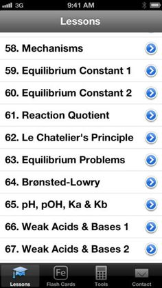 Chem Pro features a lesson library with 80 videos that cover the entire course of AP and General Chemistry. It also has flash cards for memorizing elements and polyatomic ions, as well as some essential chemistry tools - a periodic table, a molar mass calculator, a unit converter, and an equation sheet, allowing students to save time doing homework problems.