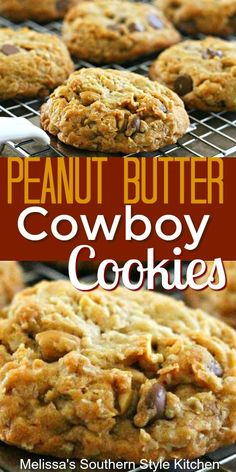 These irresistable Peanut Butter Cowboy Cookies are the epitome of go big or go home. Köstliche Desserts, Delicious Desserts, Dessert Recipes, Yummy Food, Cowboy Cookie Recipe, Peanut Butter Recipes, Peanut Butter Oatmeal Chocolate Chip Cookie Recipe, Yummy Cookies, Peanut Butter Chip Cookies