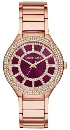 NWT Michael Kors Ladies' Michael Kors Women's Kerry Rose Red Maroon Gold-Tone Stainless Steel Bracelet Watch 37mm MK3434. Free shipping and guaranteed authenticity on NWT Michael Kors Ladies' Michael Kors Women's Kerry Rose Red Maroon Gold-Tone Stainless