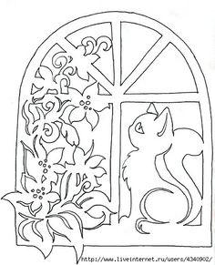 Mietzie im Blumenfenster