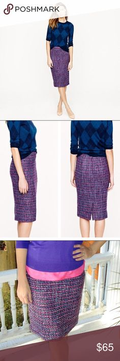 🎉SALE🎉 J.Crew Purple Multicolor Tweed No. 2 Adorable J. Crew multicolor tweed skirt! No. 2 Pencil Skirt. Fully lined. Very light fuzzies as pictured, but in excellent condition. J. Crew Skirts Pencil