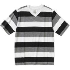 Faded Glory Boys' Short Sleeve Rugby Stripe V-Neck Tee, Black