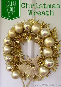 Dollar Store DIY: Make an easy and festive Holiday wreath with items found at your dollar store.