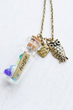 Glass Bottle Necklace,Hope Message in Bottle Necklace,Courage,Bejeweled Bottle Charm Pendant,Alice in Wonderland Message Bottle,Miniature Bottle Necklace,Encouragement,Fashion Valentines Bottle Jewelry