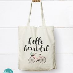 Hello Beautiful - Bicycle Canvas Tote Bag, Canvas Tote bag - Find it at http://flairandpaper.indiemade.com/store