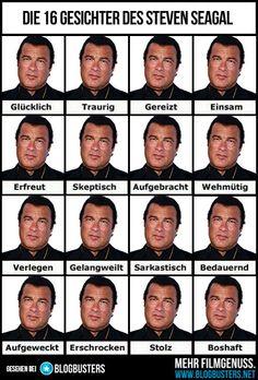 Emotionentabelle: Die 16 Gesichter des Steven Seagal. #stevenseagal #emotionentabelle