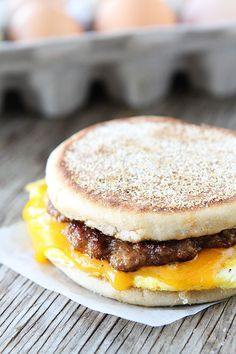 Sausage, Egg, and Cheese Breakfast Sandwich with Maple Butter Recipe on twopeasandtheirpod.com Love this easy breakfast sandwich!