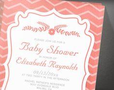 Coral Chevron Stripes Baby Shower Invitation