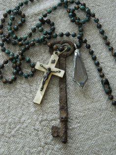 Boho Skeleton Key Assemblage Pendant Necklace Vintage by 58Diamond