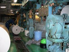 Humidifier inside web printing room.