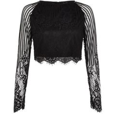 Black Lace Long Sleeve Crop Top ($26) ❤ liked on Polyvore featuring tops, cocktail tops, special occasion tops, lace crop top, lace top and crop top