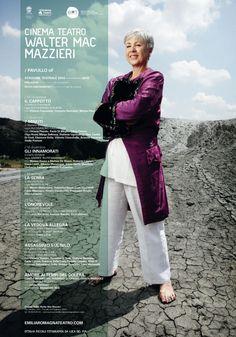 Manifesto del cinema teatro Walter Mac Mazzieri, Pavullo In foto Ottavia Piccolo Foto di Luca Del Pia