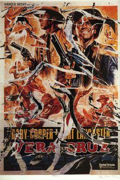 Mimmo Rotella, Vera Cruz, seridécollage, 70x100 cm Il seridécollage, con gli strappi fatti a mano, riproduce il manifesto del western diretto da Robert Aldrich nel 1954 e interpretato da Gary Cooper. Presenta la firma dell'artista in basso a destra, la sigla P. A. (prova d'autore) e il timbro della Fondazione Mimmo Rotella in basso a sinistra.  http://milanoarte.biz/index.php/mimmo-rotella-558.html