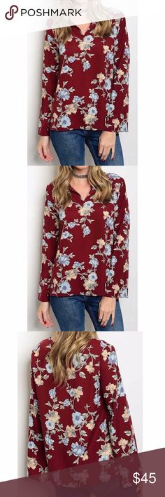 Flared sleeves blouse burgundy floral Adorable floral blouse with flared sleeves. Color burgundy, size small.  Material: 100% polyester The Chic Petunia Tops Blouses