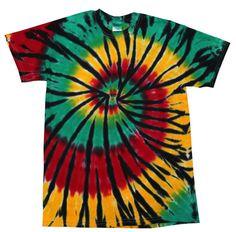 Tie Dye T-Shirt Rasta Web Multi-Color Spiral Short by PKsTieDyes