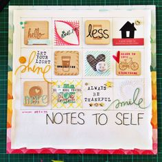 Notes to Self by VickiLFunk at @Studio_Calico I love this grid style layout and also love that it has no photos. I want to try this - it would be a great sketch!