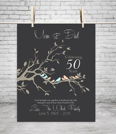 50th Anniversary Gift Anniversary gift for parents GOLDEN Anniversary bedroom…