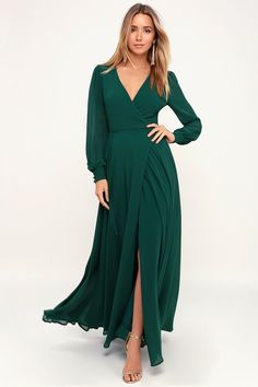 It's easy to be swept away by the romance of the Lulus My Whole Heart Emerald Green Long Sleeve Wrap Dress! Long sleeve wrap maxi dress with round button deets. Emerald Green Bridesmaid Dresses, Bridesmaid Dresses With Sleeves, Emerald Green Dresses, Maxi Dress With Sleeves, Emerald Green Wedding Dress, Formal Dresses With Sleeves, Bridesmaids, Wrap Dress Formal, Maxi Wrap Dress