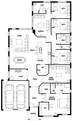House Design: Dunedin - Porter Davis Homes Remove Rumpus and shift laundry into that space, and remove Bed 4. Convert larger WIR space in main bed to mini study nook. Great layout.