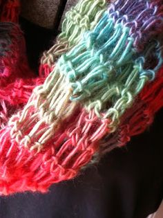 A Southern Lady's Ramblings: Free Crochet Scarf Pattern.  It  is a super quick scarf project that looks like broomstick lace when completed, but it is made with only one simple stitch.