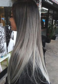 What about to say hello to the new year with brand-new hair color? I'd like to say YES after seeing all these 2019 hair color trends. This year is abo. Cabelo Ombre Hair, Grey Ombre Hair, Silver Blonde Hair, Ash Grey Hair, Ombre Hair Brunette, Long Silver Hair, Balayage Hair Grey, Bayalage, Pinterest Hair
