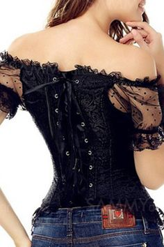 Look dazzling in this floral tapestry brocade corset! Gorgeous floral tapestry print design, this is really just an all around beautiful brocade corset, lace up boned overbust corset top with lace puf