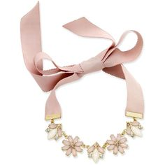Inc International Concepts Gold-Tone Clear and Pink Crystal Ribbon... ($30) ❤ liked on Polyvore featuring jewelry, necklaces, blush, ribbon choker, clear crystal necklace, crystal choker, crystal choker necklace and crystal jewelry