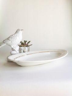Vintage Porcelain Serving Platter with Gold by seedlingplantation