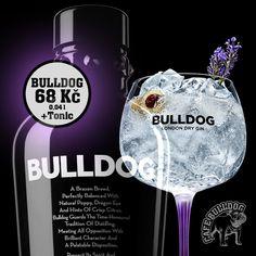 Gin Bulldog - originální lahev, skvělá chuť a to vše za 68 Kč v Cafe Bulldog London Dry Gin, Dragon Eye, Kraken, Whisky, Whiskey